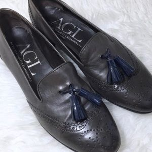 AGL loafers tassel flats Oxford leather